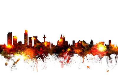 Liverpool England Skyline Poster by Michael Tompsett