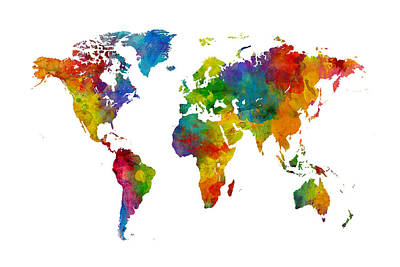 Map Of The World Map Watercolor Poster by Michael Tompsett