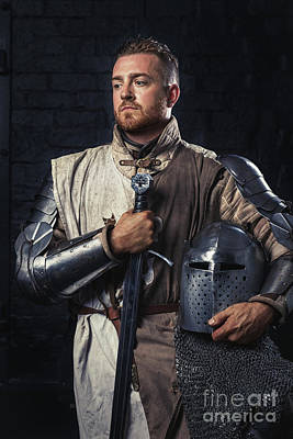 Medieval Knight In Armour Poster by Amanda Elwell