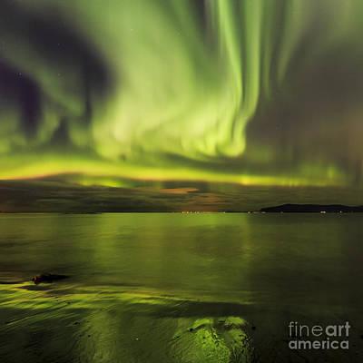Northern Lights Reykjavik Poster by Gunnar Orn Arnason
