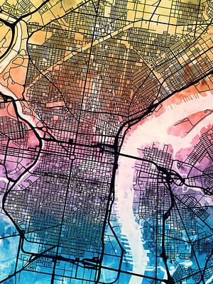 Philadelphia Pennsylvania Street Map Poster by Michael Tompsett
