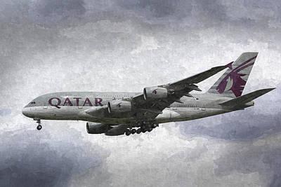 Qatar Airlines Airbus And Seagull Escort Art Poster by David Pyatt