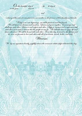 Quaker Ketubah To Fill Poster by Sandrine Kespi