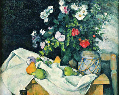 Still Life With Flowers And Fruit Poster by Paul Cezanne