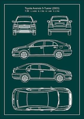 Toyota Avensis 2003 Poster by Elena Kosvincheva