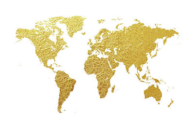 World Map Gold Foil Poster by Michael Tompsett