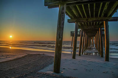 32nd Steet Pier  - Avalon New Jersey Sunrise Poster by Bill Cannon