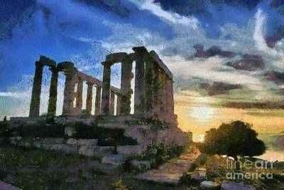 Temple Of Poseidon During Sunset Poster by George Atsametakis