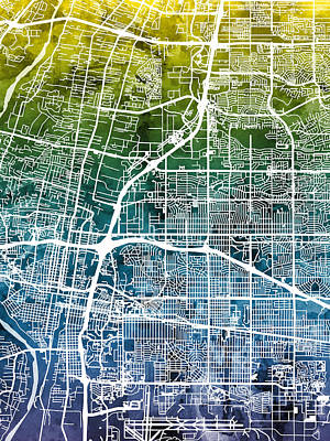 Albuquerque New Mexico City Street Map Poster by Michael Tompsett