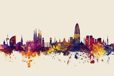 Barcelona Spain Skyline Poster by Michael Tompsett