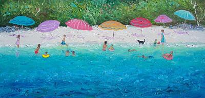 Beach Umbrellas Poster by Jan Matson