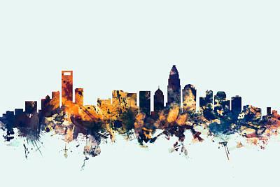 Charlotte North Carolina Skyline Poster by Michael Tompsett