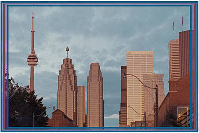 Cn Tower Toronto View From Centre Island Downtown Panorama Improvised With Graphic Artist Tools Pain Poster by Navin Joshi