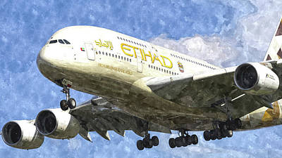 Etihad Airlines Airbus A380 Art Poster by David Pyatt