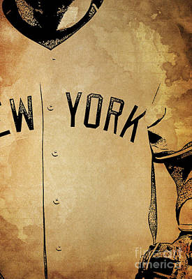New York Yankees Baseball Team Vintage Card Poster by Pablo Franchi