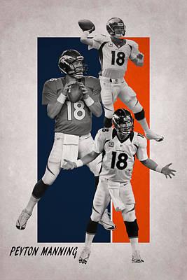 Peyton Manning Denver Broncos Poster by Joe Hamilton