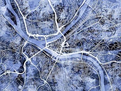 Pittsburgh Pennsylvania Street Map Poster by Michael Tompsett