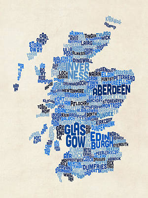 Scotland Typography Text Map Poster by Michael Tompsett