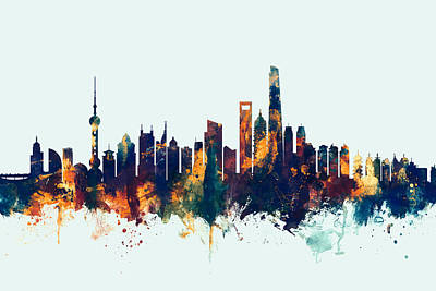 Shanghai China Skyline Poster by Michael Tompsett