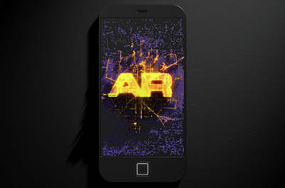 Smart Phone Emanating Augmented Reality Poster by Allan Swart