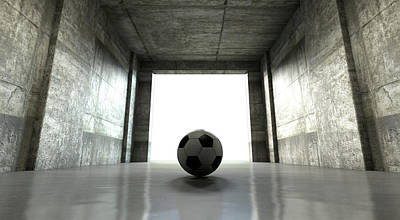 Soccer Ball Sports Stadium Tunnel Poster by Allan Swart