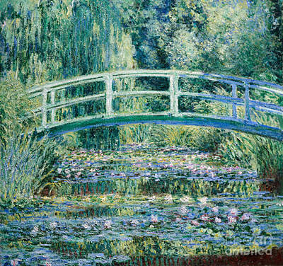 Water Lilies And Japanese Bridge Poster by Claude Monet