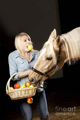 Woman And Horse With Apples Poster by Wolfgang Steiner