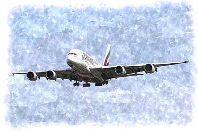 Emirates A380 Airbus Watercolour Poster by David Pyatt