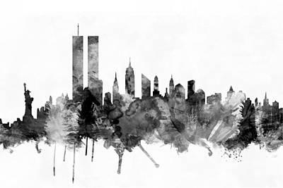 New York City Skyline Poster by Michael Tompsett