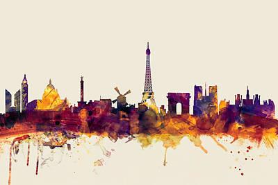 Paris France Skyline Poster by Michael Tompsett