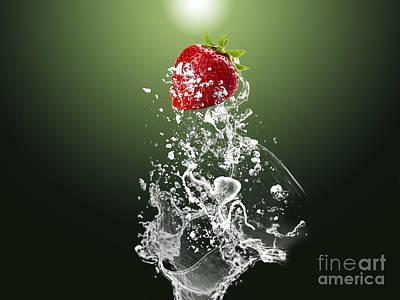 Strawberry Splash Poster by Marvin Blaine