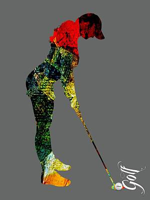 Womens Golf Collection Poster by Marvin Blaine