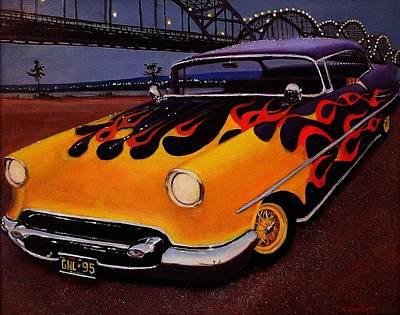 '55 Oldsmobile Hotrod Oil Painting Poster by Glenn Ledford