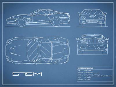 575m Superamerica Blueprint Poster by Mark Rogan