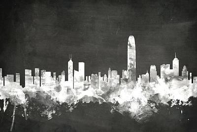 Hong Kong Skyline Poster by Michael Tompsett