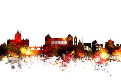 Rome Italy Skyline Poster by Michael Tompsett