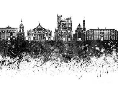 Amiens Skyline In Watercolor Background Poster by Pablo Romero