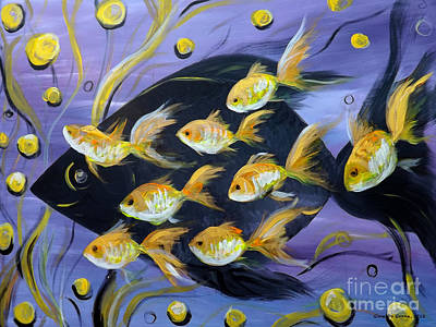 8 Gold Fish Poster by Gina De Gorna