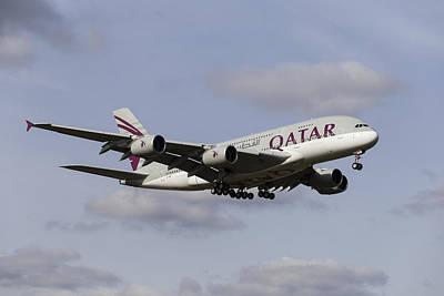 Qatar Airlines Airbus A380 Poster by David Pyatt