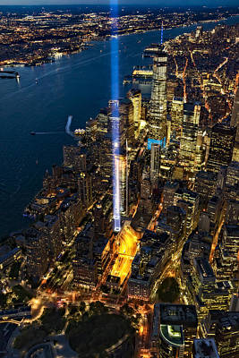 911 Tribute In Light Nyc Aerial View Poster by Susan Candelario