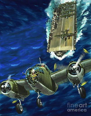 A B52 Bomber Takes Off From An Aircraft Carrier Headed For Japan In World War II Poster by Wilf Hardy
