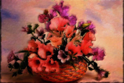 A Basket Of Flowers Poster by Mario Carini