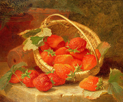 A Basket Of Strawberries On A Stone Ledge Poster by Eloise Harriet Stannard