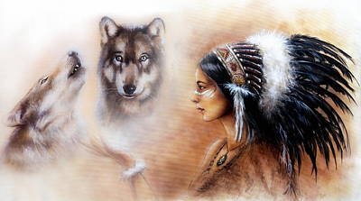 A Beautiful Airbrush Painting Of A Young Indian Woman Wearing  Poster by Jozef Klopacka