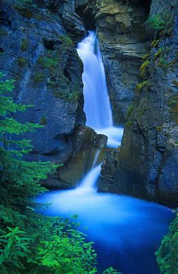 A Beautiful Waterfall, Johnston Canyon Poster by Don Hammond