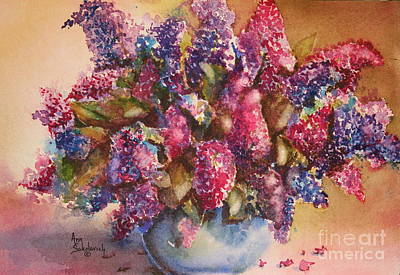 A Bowl Full Of Lilacs Poster by Ann Sokolovich