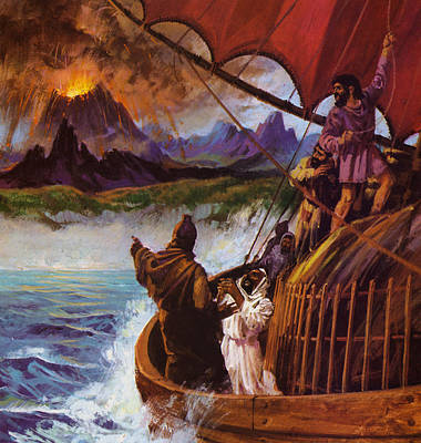 A Carthaginian Vessel Spotting A Volcano Erupting Poster by English School