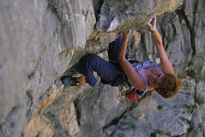 A Caucasian Woman Rock Climbing Poster by Bobby Model