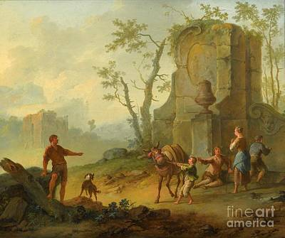 A Classical Landscape With A Family Resting Poster by MotionAge Designs