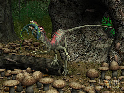 A Compsognathus Prepares To Swallow Poster by Walter Myers